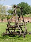 An ancient battering ram used in siege warfare