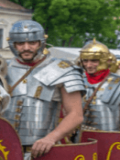 Well disciplined Roman legions on the march