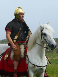 A Roman cavalry rider mounted on horseback