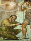 A Roman doctor carrying out minor surgery on a patient