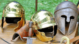 Roman battle helmets and swords