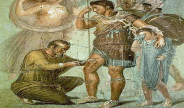 A Roman doctor performing minor surgery
