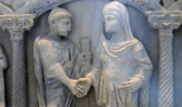 Roman marriage scene carving