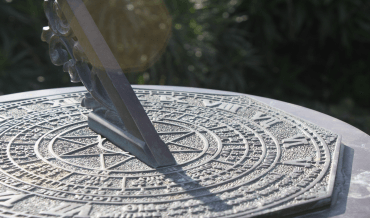 A sundial with Roman numerals