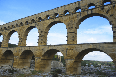 A well preserved section of a Roman aqueduct