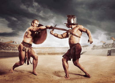 Two Roman gladiators fighting