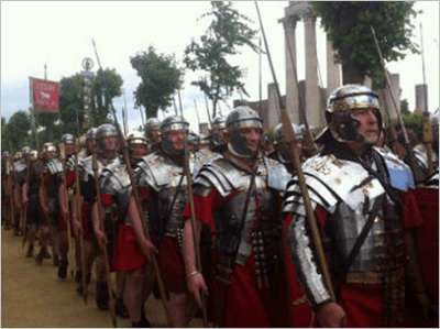 A disciplined Roman legion marching in formation