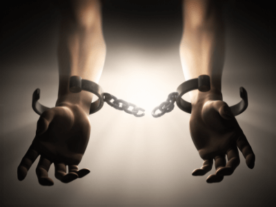 A slave in ancient shackles