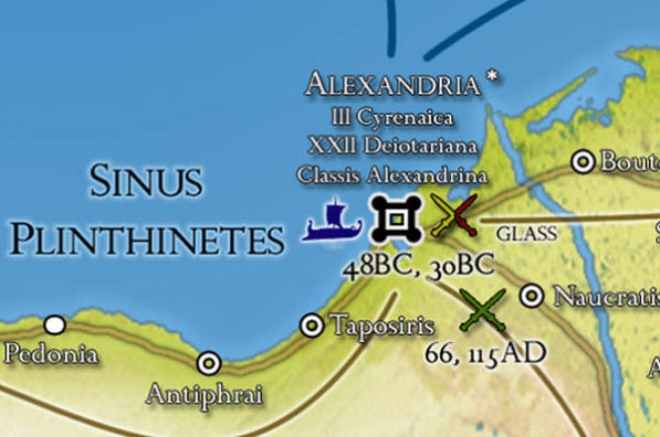 Alexandria, Aegyptus (Egypt) and battle dates shown on the map