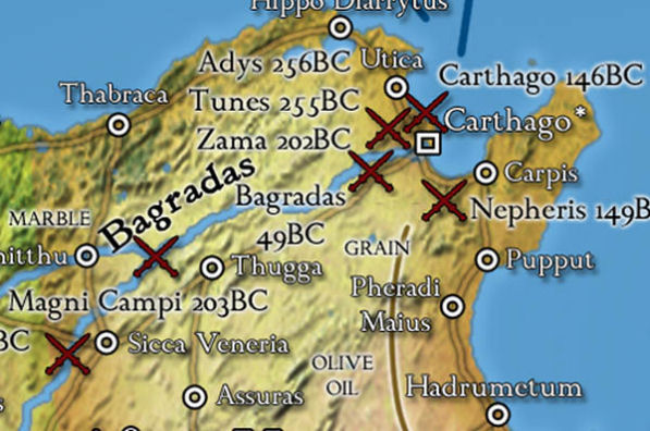 Carthage and Africa details on the Roman Empire wall map