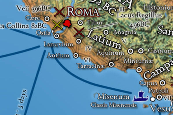 Rome and its environs on the map